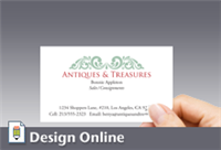 Business Card, Horizontal, Green Ornamentation